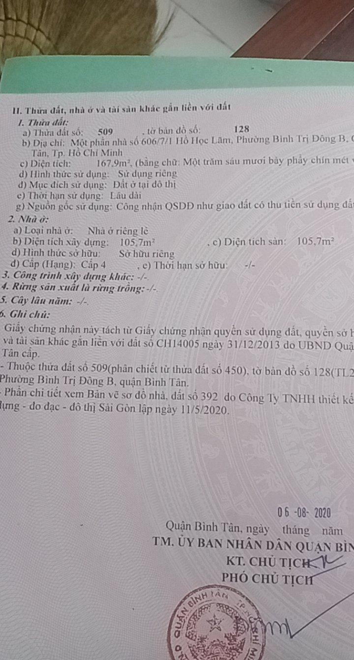 CHÍNH CHỦ CẦN BÁN NHÀ MỚI XÂY HẺM Ô TÔ TẠI ĐƯỜNG HỒ HỌC LÃM, PHƯỜNG BÌNH TRI ĐÔNG B,QUẬN BÌNH TÂN - Ảnh 2