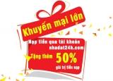 Nạp tiền tặng thêm 50% giá trị tiền nạp vào tài khoản tại nhadat24h.com